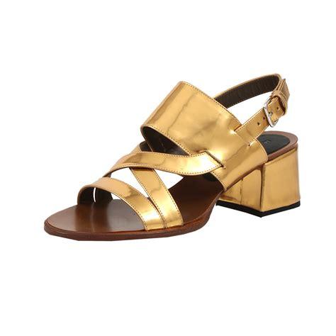 thick heel sandals marni metallic chunky heel sandal in gold lyst