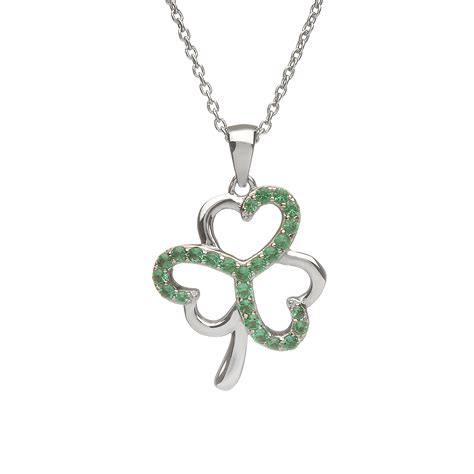 sterling silver shamrock design pendant set with emerald