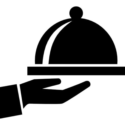 covered food tray on a hand of hotel room service icons