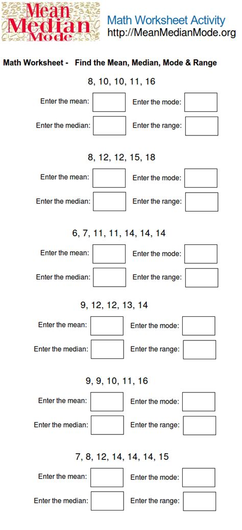 Median Mode Range Worksheets Pdf by Homework Assignments Srs Math 6