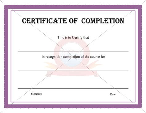 10 best images of certificate of completion template