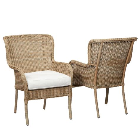 Martha Stewart Living Charlottetown Natural All Weather Outdoor Wicker Dining Chairs
