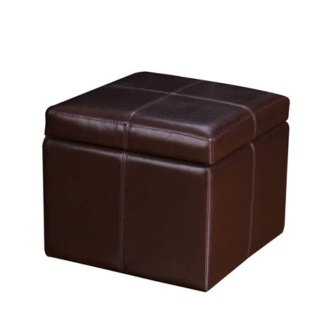Leather Stool Ottoman Adeco Brown Bonded Leather Contrast Stitch Square Cube
