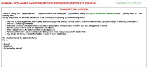 Work Experience Letter Vets storekeeper work experience certificates sles