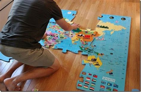World Map Foam Puzzle Mat by Incstores World Puzzle Play Mat Large 4ft X 6ft