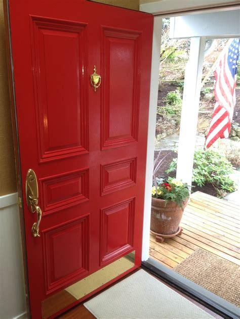 Red Door W Flag In Front Door
