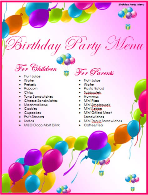 Birthday Menu Templates 19 Free Psd Eps Indesign Format Download Free Premium Templates Birthday Menu Template