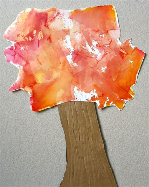 Paper Fall Crafts - tissue paper fall tree craft