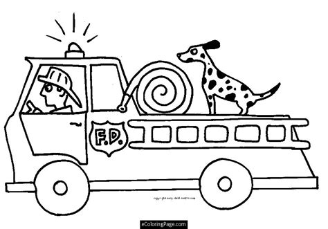 fire truck fireman and dog printable coloring page