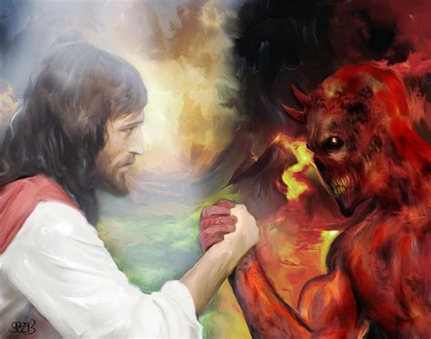Throw Pillows by Jesus Vs Satan Painting By Mark Spears