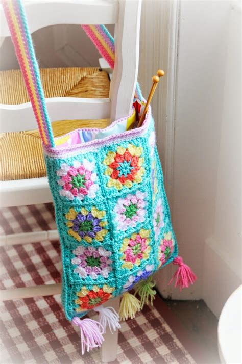 pattern bag pinterest beautiful turquoise granny square crocheted boho style