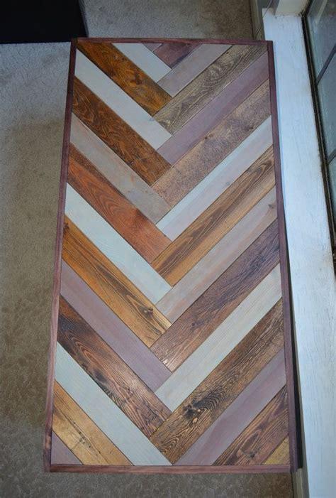 reclaimed wood coffee table chevron pattern