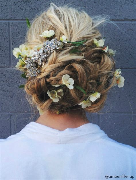 formal hairstyles with flowers prom wedding flower up do tutorial barefoot blonde by