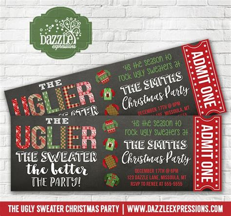 printable tickets for christmas party printable ugly sweater christmas party chalkboard ticket