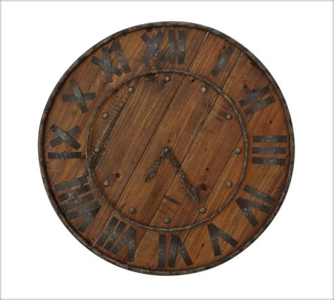 rustic clock rustic wood iron clock pottery barn