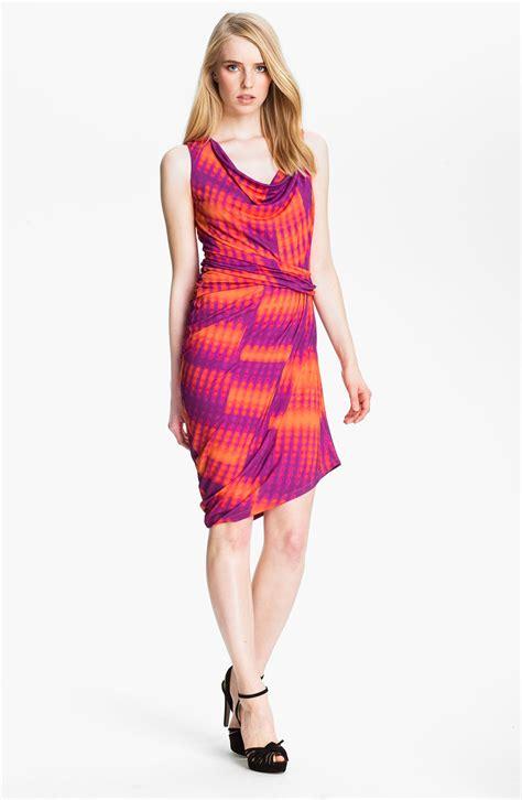 jersey knit dress heritage draped jersey knit dress in purple