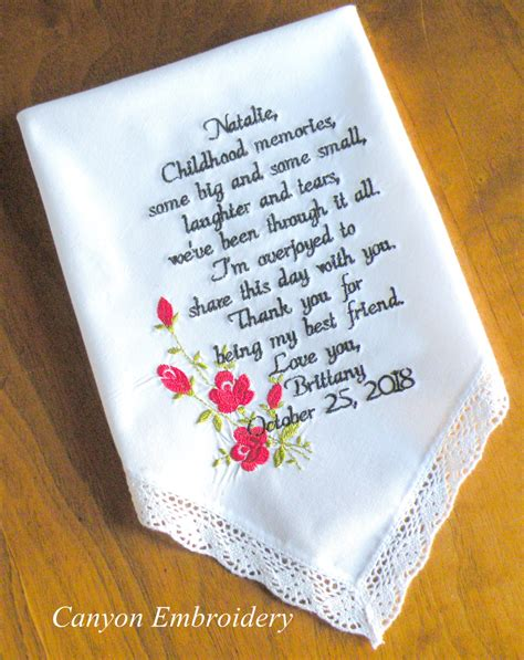 Wedding Gift For Best Friend by Wedding Gift Best Friend Embroidered Wedding Handkerchief