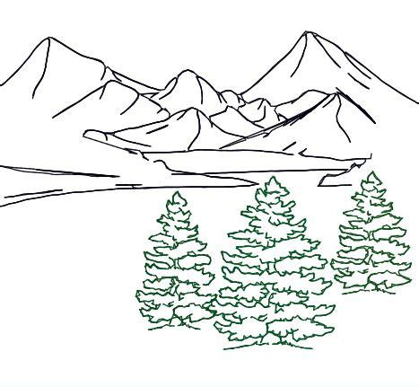 embroidery design fir tree trio outline mountain