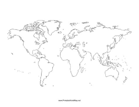 Outline Map Of The World To Print by Blank World Map