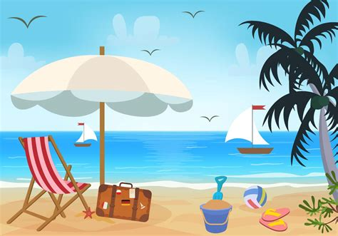 beach themed drawing beach theme vector download free vector art stock