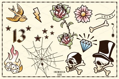 tattoo flash c est quoi 40 tattoo flash full colors icons on creative market
