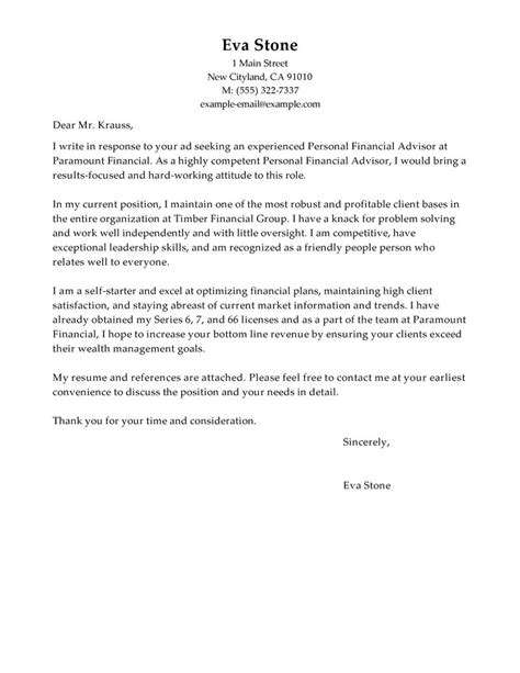 financial advisor cover letter exle personal financial advisor cover letter exles finance