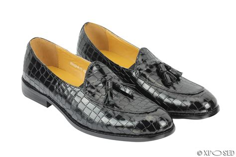 mens loafers with tassels uk mens snakeskin print shiny real leather tassel loafers
