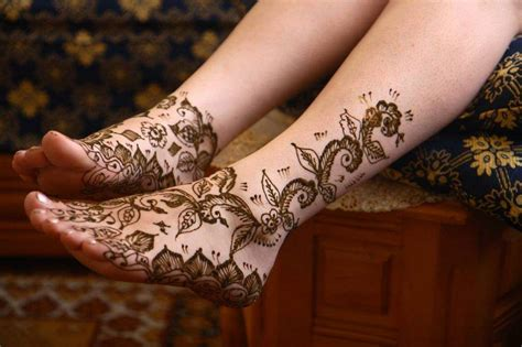 black henna ink designs on foot white ink tattoos