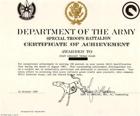 da form 2442 template da form 2442 certificate of achievement template