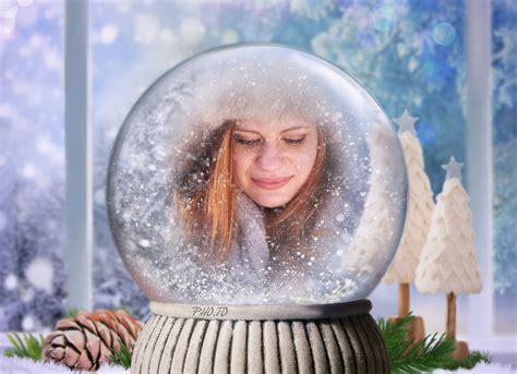 snow globe photo effect personalized christmas photo card