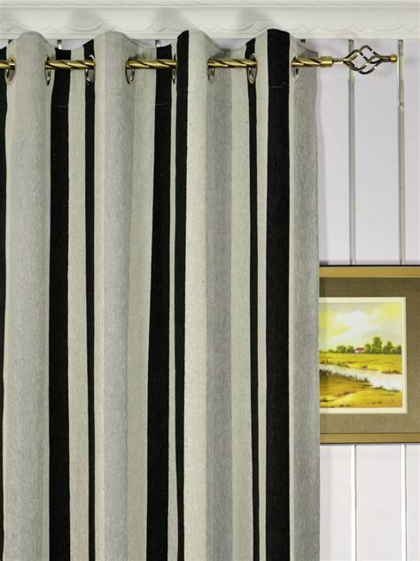 Vertical Striped Curtains Petrel Vertical Stripe Grommet Chenille Curtains