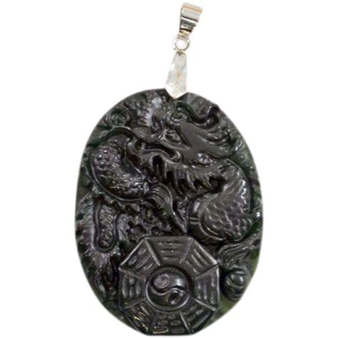 Black Jade vintage carved quot black jade quot pendant with i