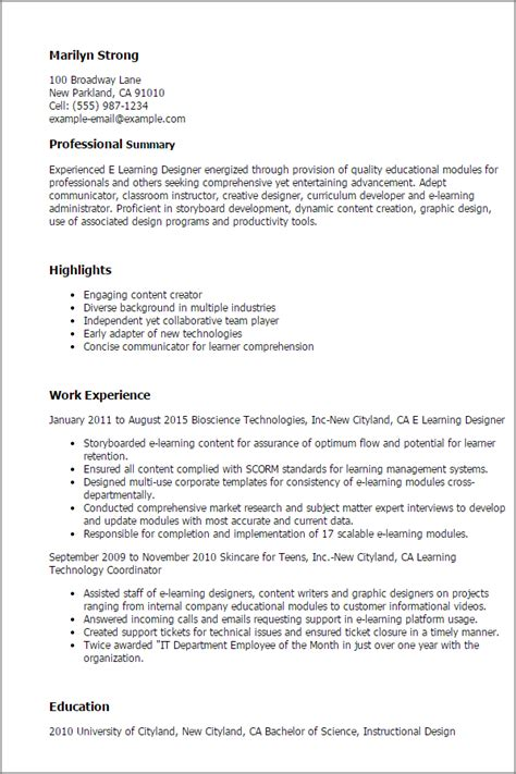 Resume Sles For Experienced Net Developer Professional E Learning Designer Templates To Showcase Your Talent Myperfectresume