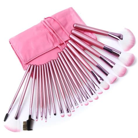 Guerlain Makeup Brush With A Leather Pink Pouch Limited Edition 22pcs superior professional soft cosmetic makeup brush set pink pouch bag ebay
