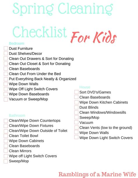 kids bedroom cleaning checklist spring cleaning checklist for kids nothing but room