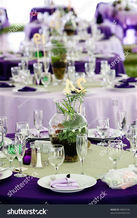 Wedding Tables Set Fine Dining Green Stock Photo 98829746