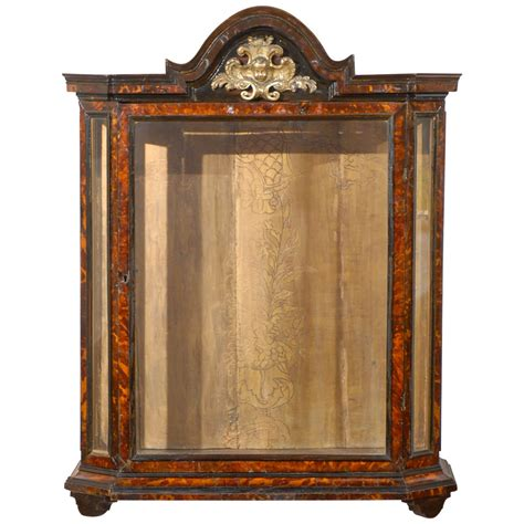 Glass Curio Cabinet by Tortoised Curio Cabinet With Glass For Sale At 1stdibs