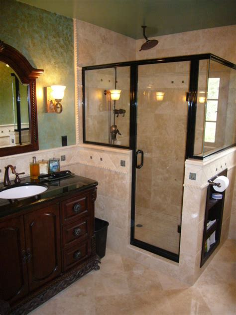How To Build A Half Wall Shower by Shower Remodel Idea The Half Walls On The Shower With A Bench And Shower Heads