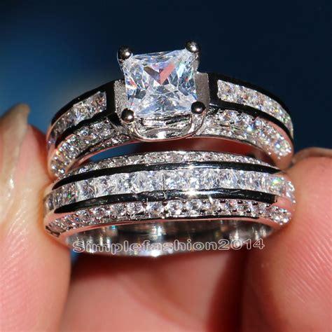 get cheap cubic zirconia wedding ring sets