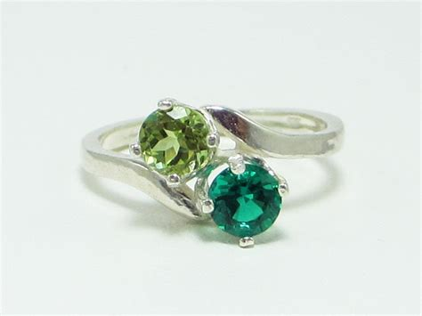 peridot and emerald ring sterling silver
