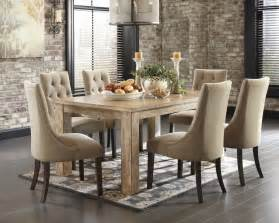 Light Dining Room Sets Mestler Bisque Rectangular Dining Room Table 6 Light Brown Uph Side Chairs D540 202 6 225