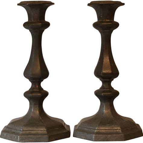candlestick l antique pewter hexagonal candlesticks from