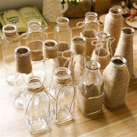 Glass Vase Decoration by Transparent Glass Vase Retro Hemp Glass Bottle Flower Vase