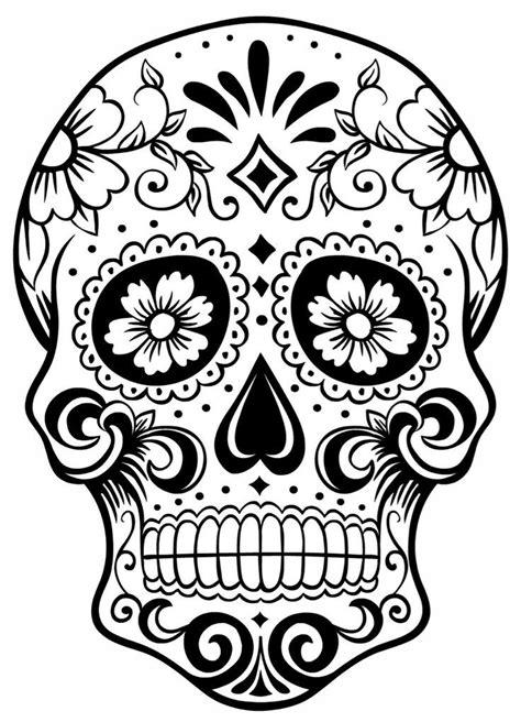 sugar skull colouring page day of the dead coloring home