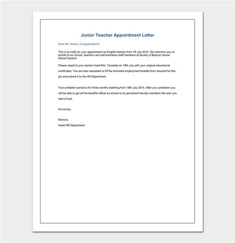 appointment letter for junior in up appointment letter 12 sle letters formats