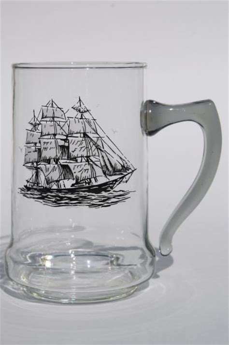 Kitchen Furniture Accessories set of vintage glass ship steins beer mugs w tall ships