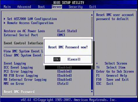 reset bios on pc powering on the server module configuring bios and