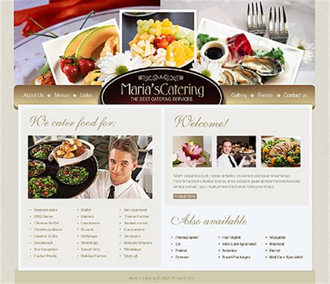 Template 33172 Catering Company Swish Website Template Catering Website Templates