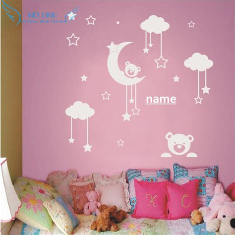 moon and stars bedroom decor personalized name cute teddy bear moon stars wall