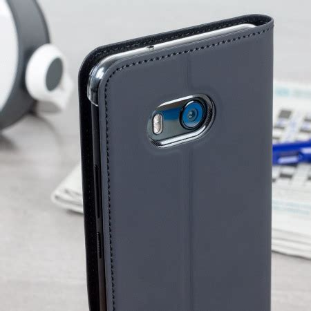Htc U11 Style Leather Casing Cover official htc u11 leather style flip grey